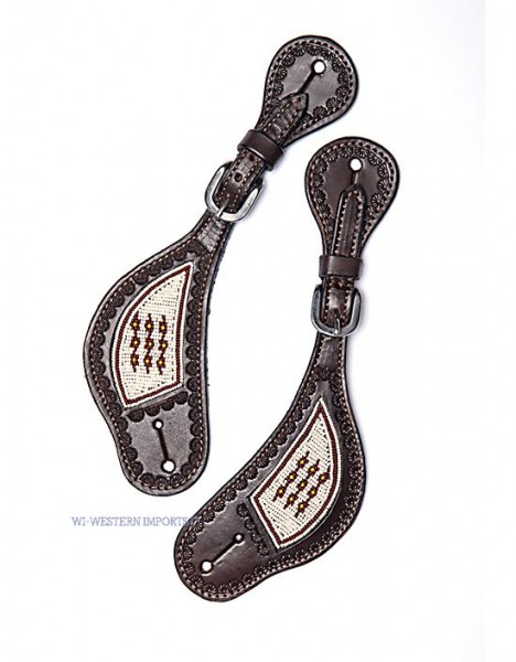 Western Imports LADY'S BEADED SPURSTRAP, DARK OILED