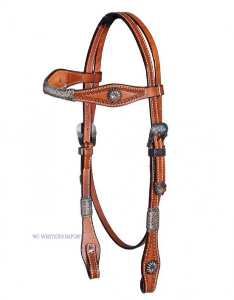 Western Imports Headstall Tooled Antique Buckles